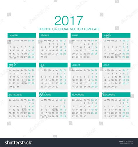vector template french calendar 2017 year stock vector