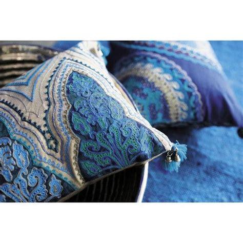 coussins bleus 2 coussins indiens en coton bleus jodhpur maisons du monde mdm textiles jodhpur