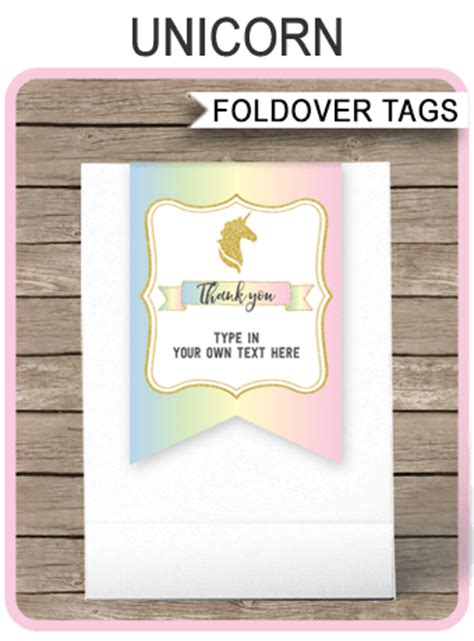 unicorn favor tag toppers unicorn theme   tags