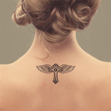 cross temporary tattoos cross and wings temporary design