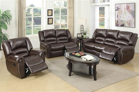 Brown Leather Recliner Sofa Set by 2 Pcs Brown Leather Recliner Sofa Set