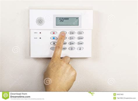 setting home alarm system stock photo image of security