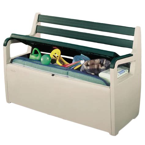 bench storage box keter plastic deck patio bench large garden storage seat