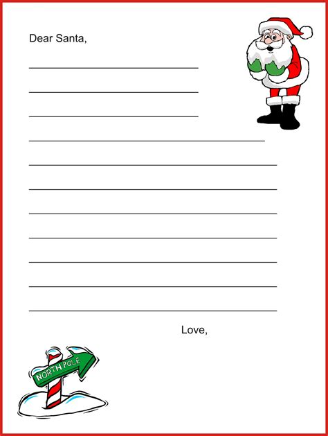 santa letter free template coloring pages