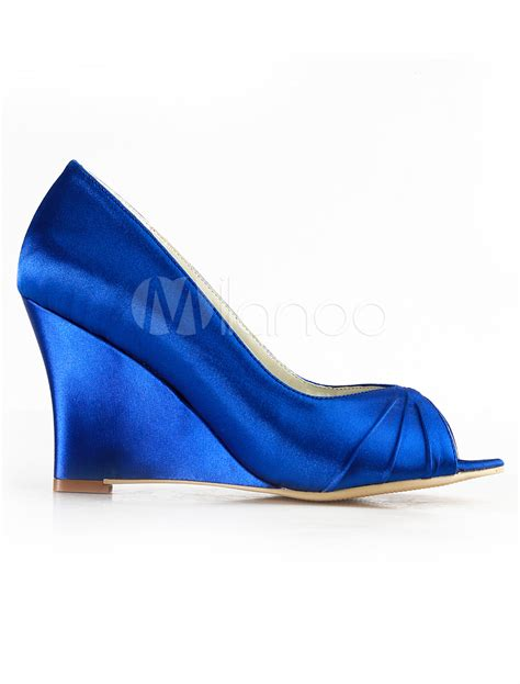 blue wedge sandals wedding blue wedge heel peep toe bridal shoes milanoo
