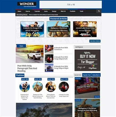 layout majalah game wonder template blog seo responsive untuk blog