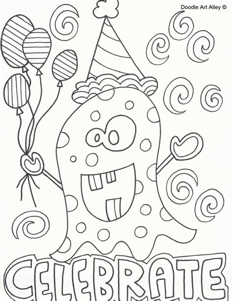 birthday coloring page birthday coloring pages doodle alley