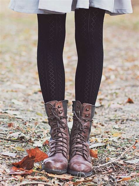 Patterned Tights Boots | tights and boots lace up boots and patterned tights on