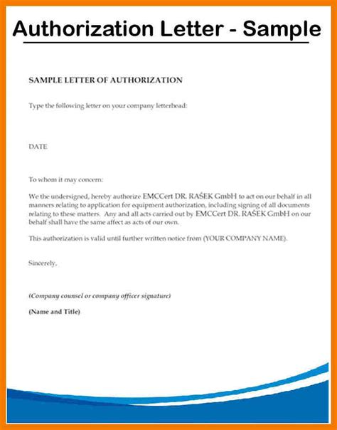 authorization letter behalf 8 authorization letter sles on behalf mailroom clerk