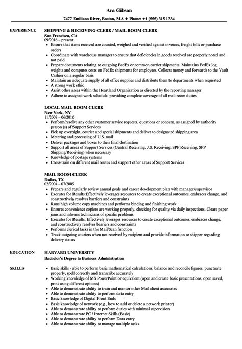 mailroom clerk resume templates franklinfire co