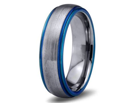 colored wedding bands mens wedding band blue tungsten ring blue wedding bands
