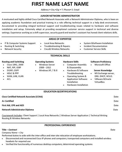 resume network engineer resume example