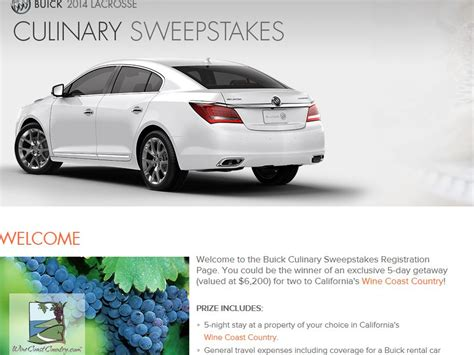 Buick Sweepstakes - buick fall culinary sweepstakes