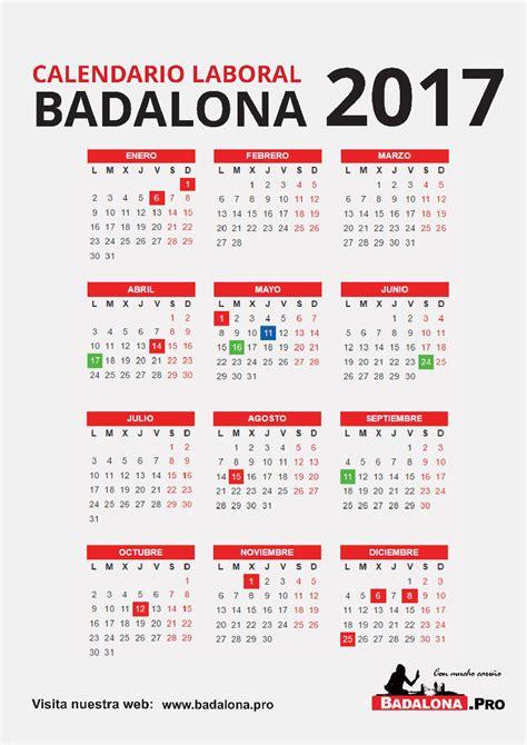 Descargar Calendario Laboral 2017 Calendario Laboral Badalona 2017 Badalona