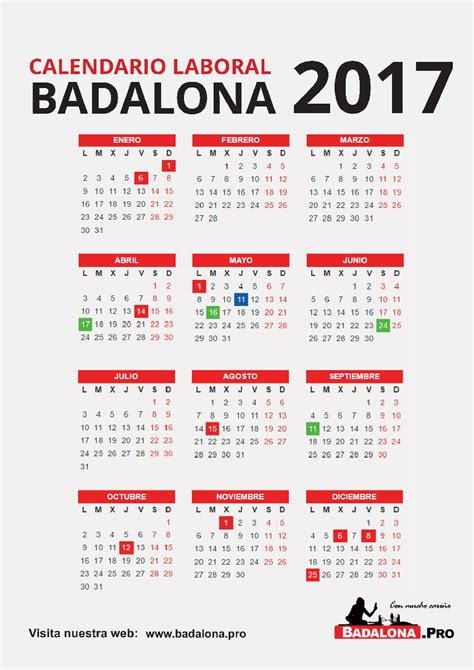 Calendario Laboral Barcelona 2017 Calendario Laboral Badalona 2017 Badalona