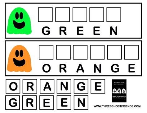 how to spell color three ghost friends spell your color words with the three