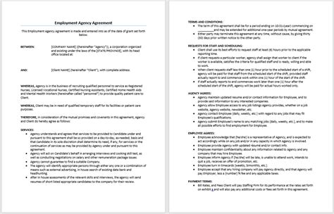 agency agreement template uk employment agency agreement template microsoft word
