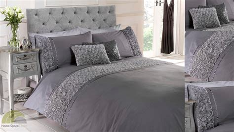 bedroom with gray bedding grey silver ruffled duvet quilt cover bed set bedding 4 sizes ebay