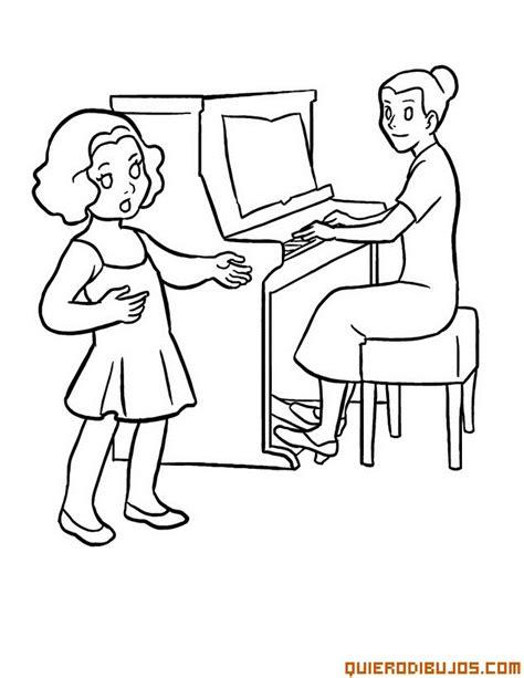 music education coloring pages recibiendo clases de piano