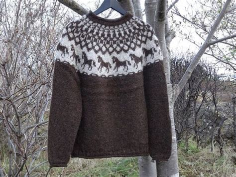 knitting pattern horse sweater ready to ship medium size brown with horse pattern