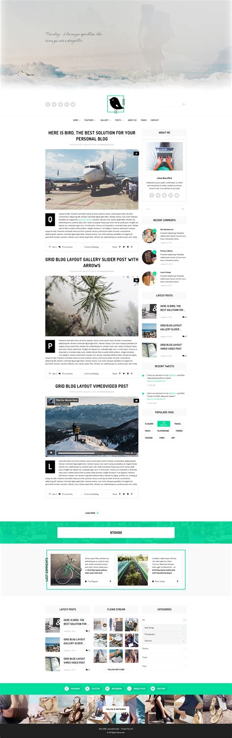 magazine layout blog bird elegant magazine blog psd template by wwwebinvader