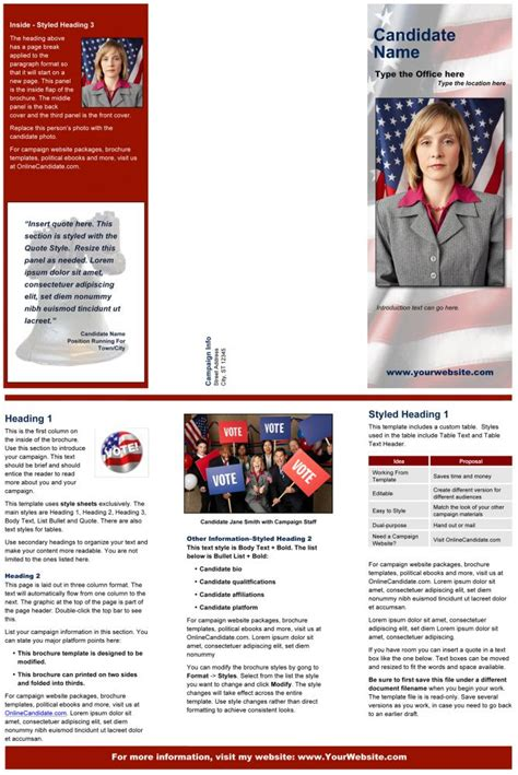 political brochure political print templates liberty bell theme