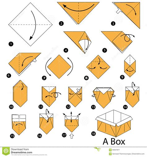 Steps To Make A Paper Box - step by step how to make origami a box stock
