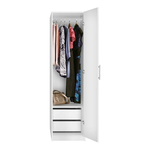 Two Door Closet Alta Narrow Wardrobe Closet Right Door 2 Interior Drawers Contempo Space