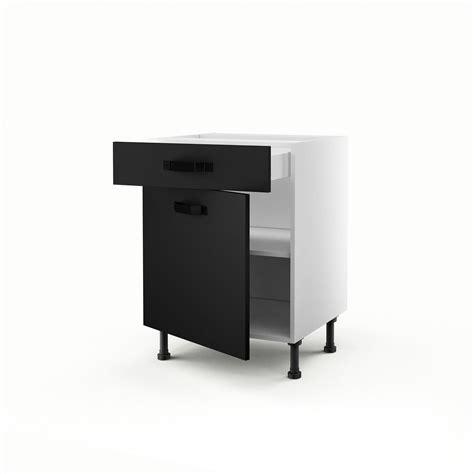 meuble de cuisine bas noir 1 porte 1 tiroir mat edition