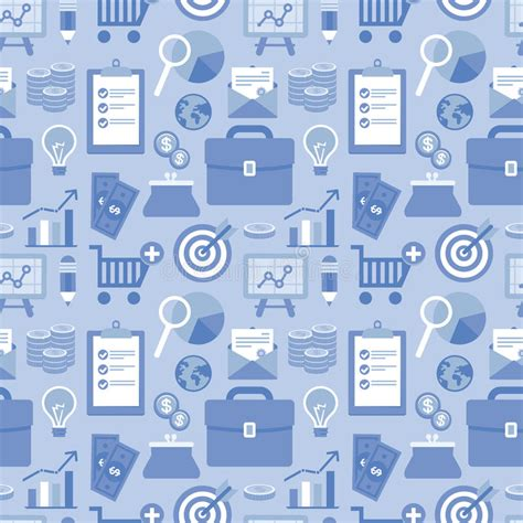 pattern background flat vector flat seamless pattern with business icons stock