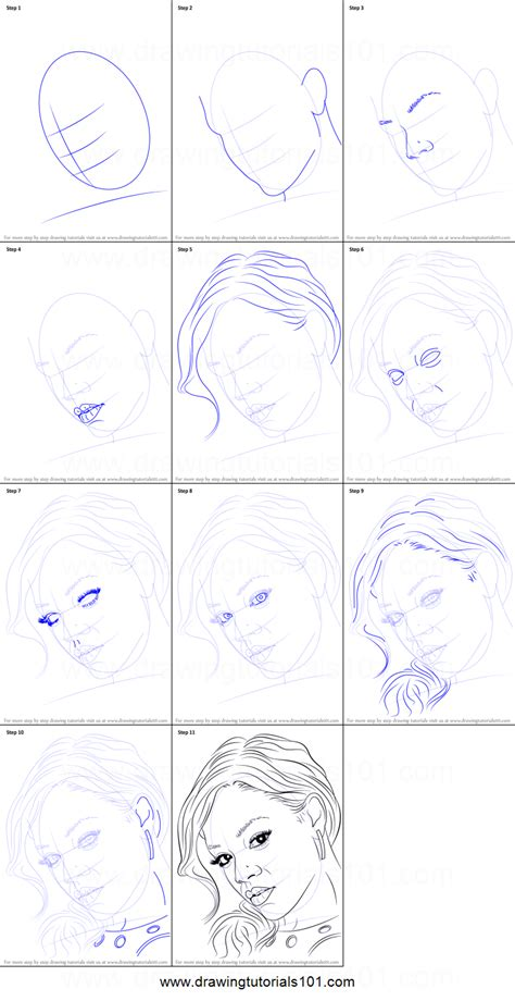 how to draw rihanna printable step by step drawing sheet