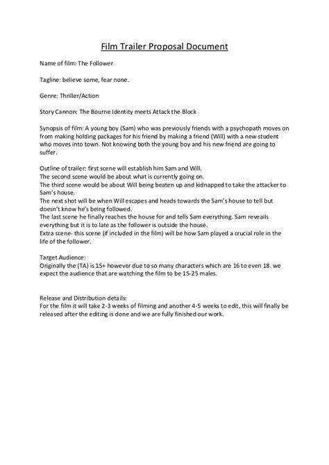 film trailer proposal document