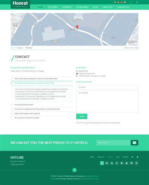 Preview Sj Honrat Responsive Hotel Joomla 3 X Template Contact Us Page Template