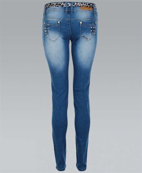 Blue Print Belted Denim Ml krisp blue studded pocket belted with leopard print belt krisp from krisp clothing uk