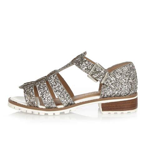 river island sandals river island silver glitter strappy sandals in gray