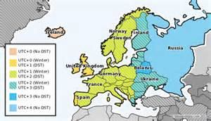 Time zones and dst in europe the striped areas will begin dst on