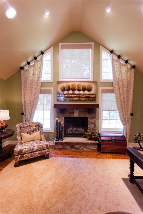 Vaulted Ceiling Curtain Ideas window treatments for windows family room transitional with angled ceiling kansas city