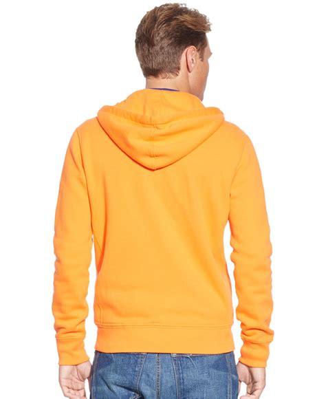 New Jaket Sweater Polos Hoodie Zipper Orange Oren polo ralph big and sleeve fleece zip hoodie in orange for lyst