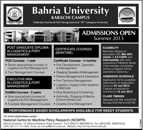 Executive Mba In Karachi by Bahira Karachi Cus Summer Admission Open