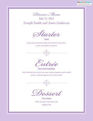 Free Printable Wedding Menu Templates Lovetoknow Reception Menu Template