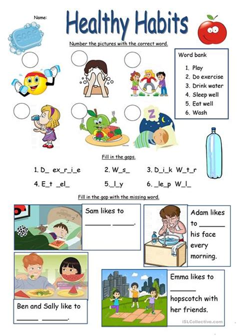 healthy habits worksheets kidz activities