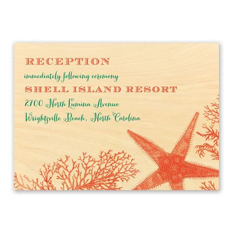 real wood wedding invitations wording coral reef real wood reception card invitations by
