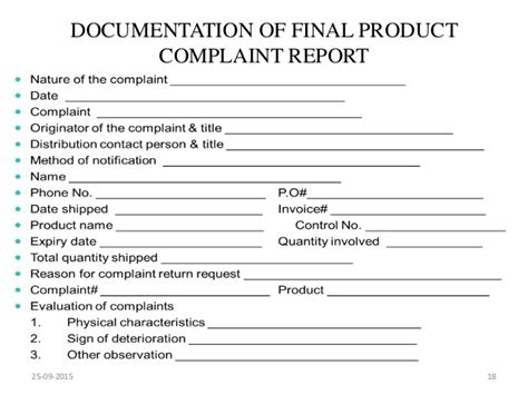 Hcss Complaints Reporting Template Market Complaints And Product Recall