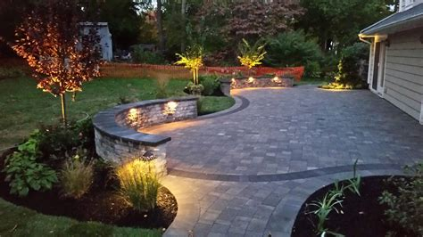 patio paver lights low voltage paver patio area with seating wall and low voltage