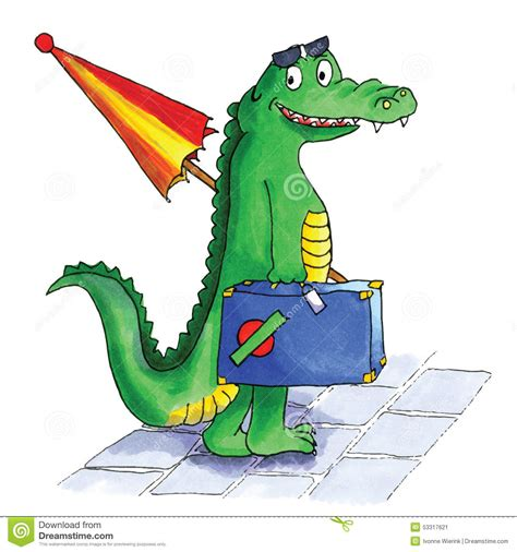 Crocodile Suitcase Stock Vector - Image: 53317621