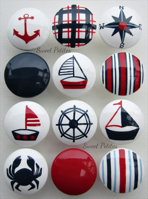 Nautical Door Knobs by Painted Knob Dresser Drawer Nautical Sailboat Crab