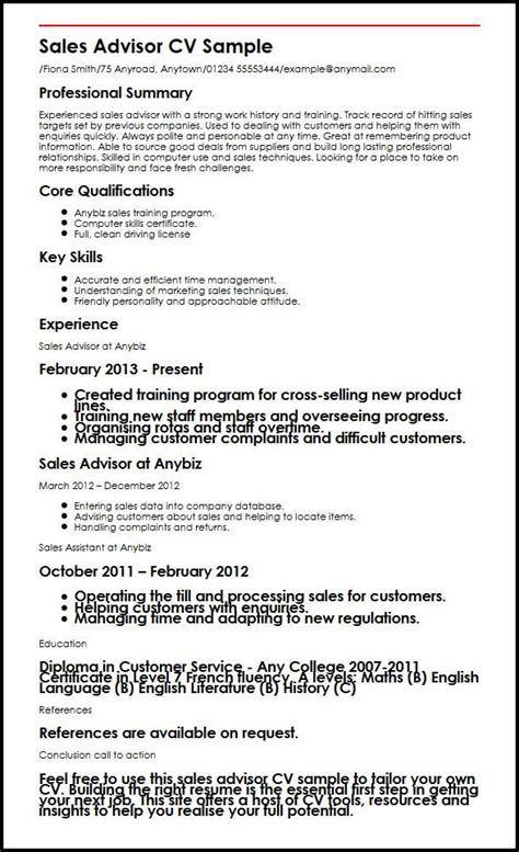 sales cv template uk sales advisor cv sle myperfectcv