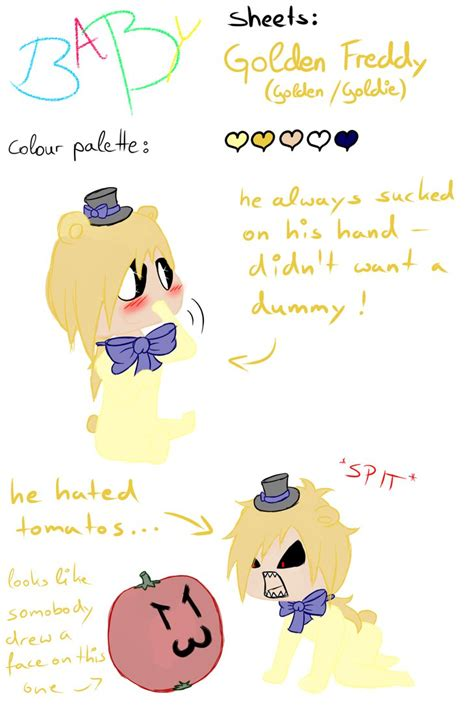 show me a picture of a baby golden retriever fnaf exe baby sheets golden freddy by kittythecolonel on deviantart