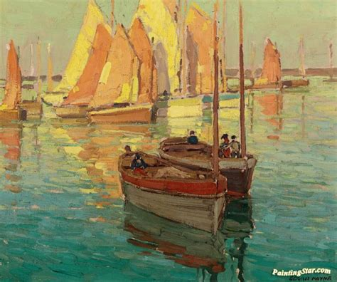 fishing boat art work fishing boats in a harbor artwork by edgar alwyn payne oil