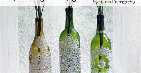 decoupage bottle tutorial craftiments paper doily decoupaged bottle tutorial